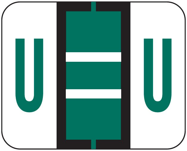 File Doctor Match FDAV Series Alpha Roll Labels - Letter U - Dark Green