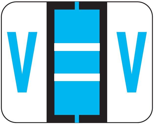File Doctor Match FDAV Series Alpha Roll Labels - Letter V - Blue