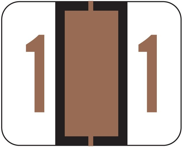 File Doctor Match FDNV Series Numeric Roll Labels - Number 1 - Brown
