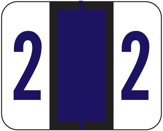 File Doctor Match FDNV Series Numeric Roll Labels - Number 2 - Purple