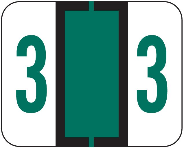File Doctor Match FDNV Series Numeric Roll Labels - Number 3 - Green