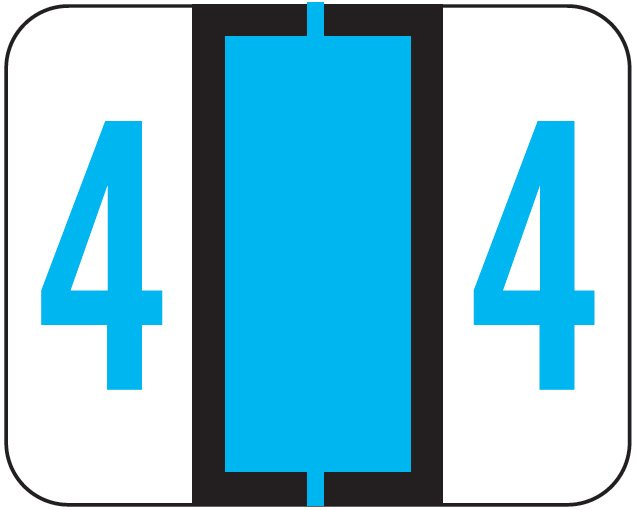 File Doctor Match FDNV Series Numeric Roll Labels - Number 4 - Blue