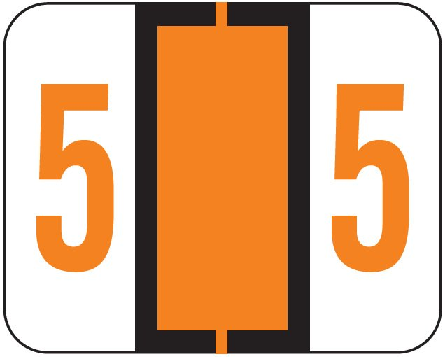 File Doctor Match FDNV Series Numeric Roll Labels - Number 5 - Orange