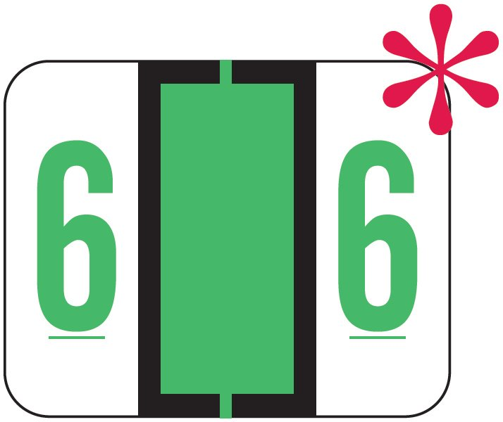 File Doctor Match FDNV Series Numeric Roll Labels - Number 6 - Fluorescent Green
