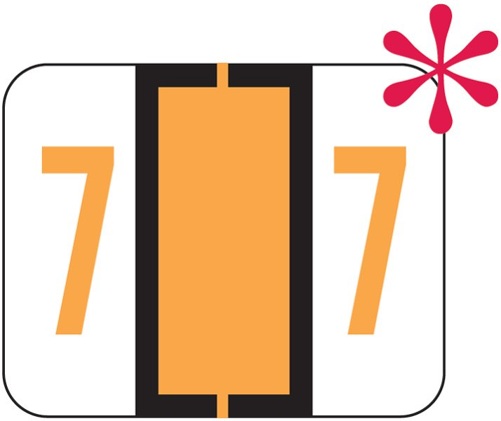 File Doctor Match FDNV Series Numeric Roll Labels - Number 7 - Fluorescent Orange