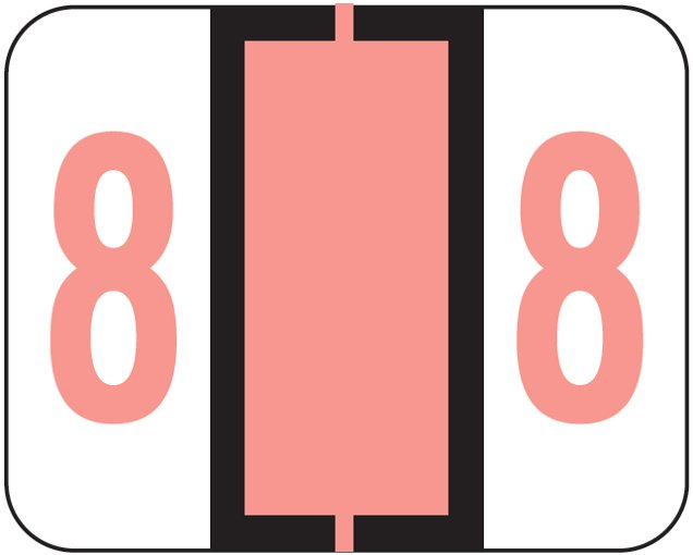 File Doctor Match FDNV Series Numeric Roll Labels - Number 8 - Pink