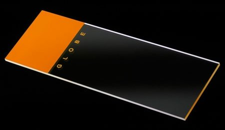 Microscope Slides - Glass - Orange Frosted 1 End 1 Side - 90° Ground Edges 90° Corners (Pack of 144)