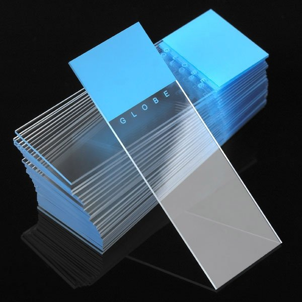 Microscope Slides - Diamond White Glass - 90° Ground Edges 90° Corners - Blue Frosted 1 End 1 Side
