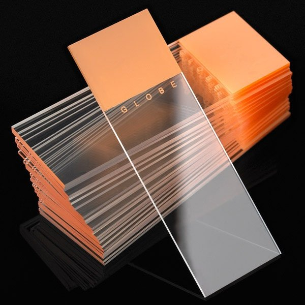 Microscope Slides - Diamond White Glass - 90° Ground Edges 90° Corners - Orange Frosted 1 End 1 Side