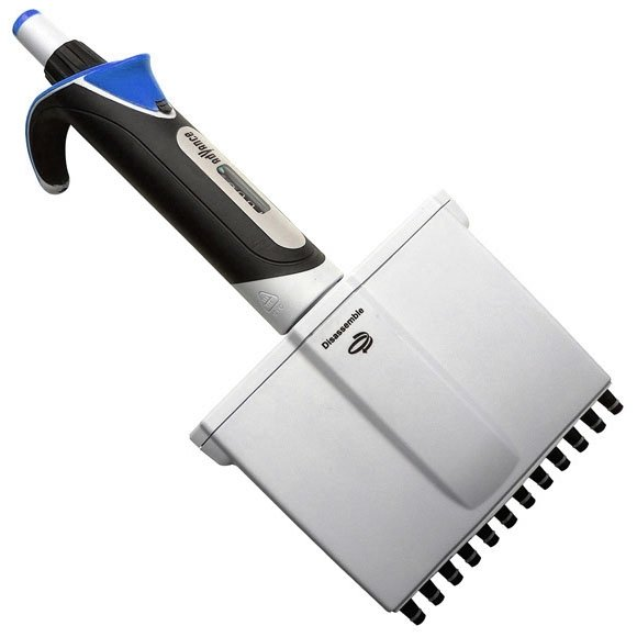 Diamond Advance Pipettor - 12-Channel Adjustable Volume 10uL-100uL - Increment 0.1uL - Blue