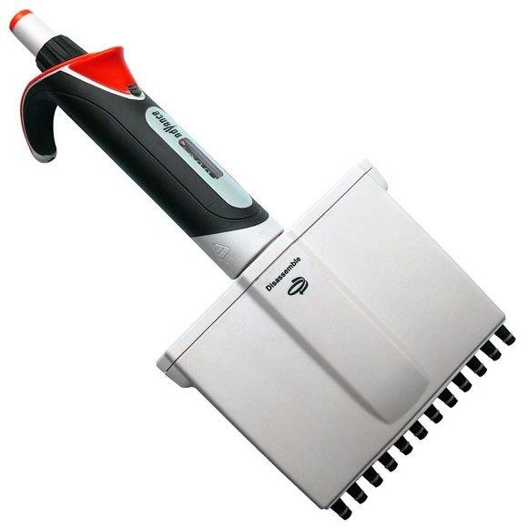 Diamond Advance Pipettor - 12-Channel Adjustable Volume 0.5uL-10uL - Increment 0.02uL - Red