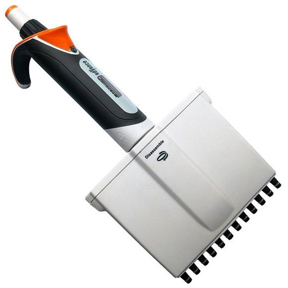 Diamond Advance Pipettor - 12-Channel Adjustable Volume 30uL-300uL - Increment 0.2uL - Orange