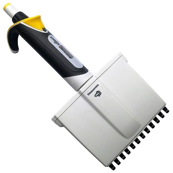 Diamond Advance Pipettor - 12-Channel Adjustable Volume 5uL-50uL - Increment 0.1uL - Yellow