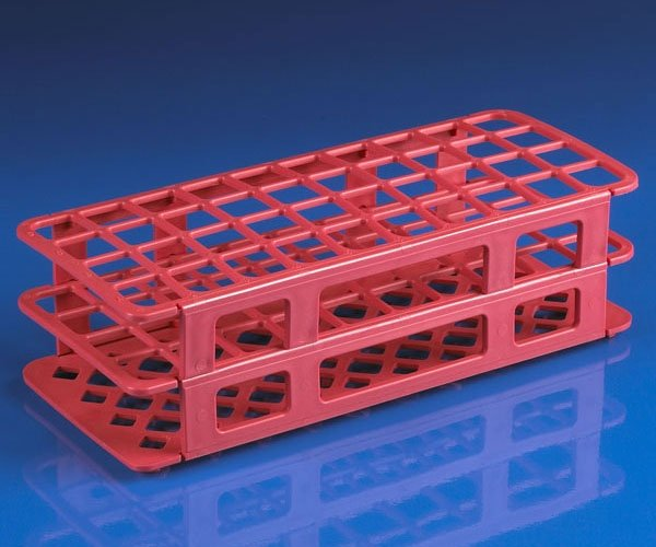 40-Place Snap-N-Racks Tube Rack for 20mm/21mm Tubes - Polypropylene - Red
