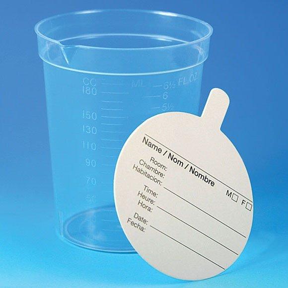 6.5 oz Specimen Container with Pour Spout - Paper Lid Included - Polypropylene (PP)