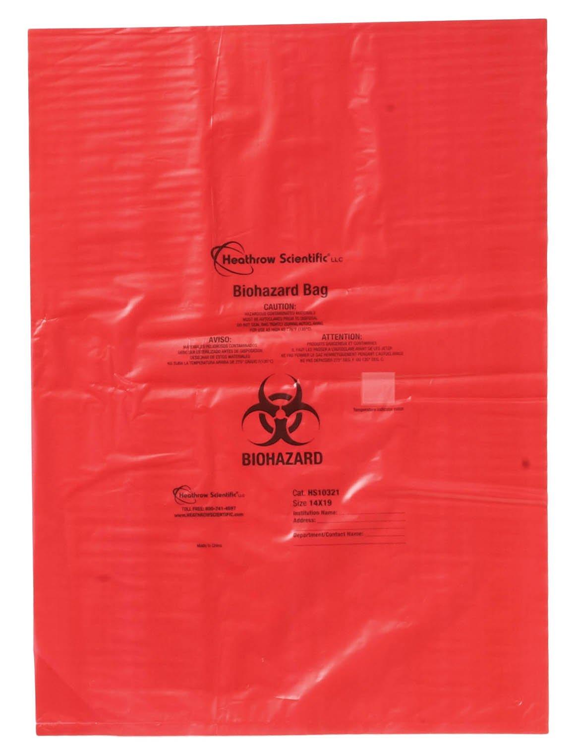 HS Biohazard Bags - 1.57mil Thick x 356mm W x 483mm L (14