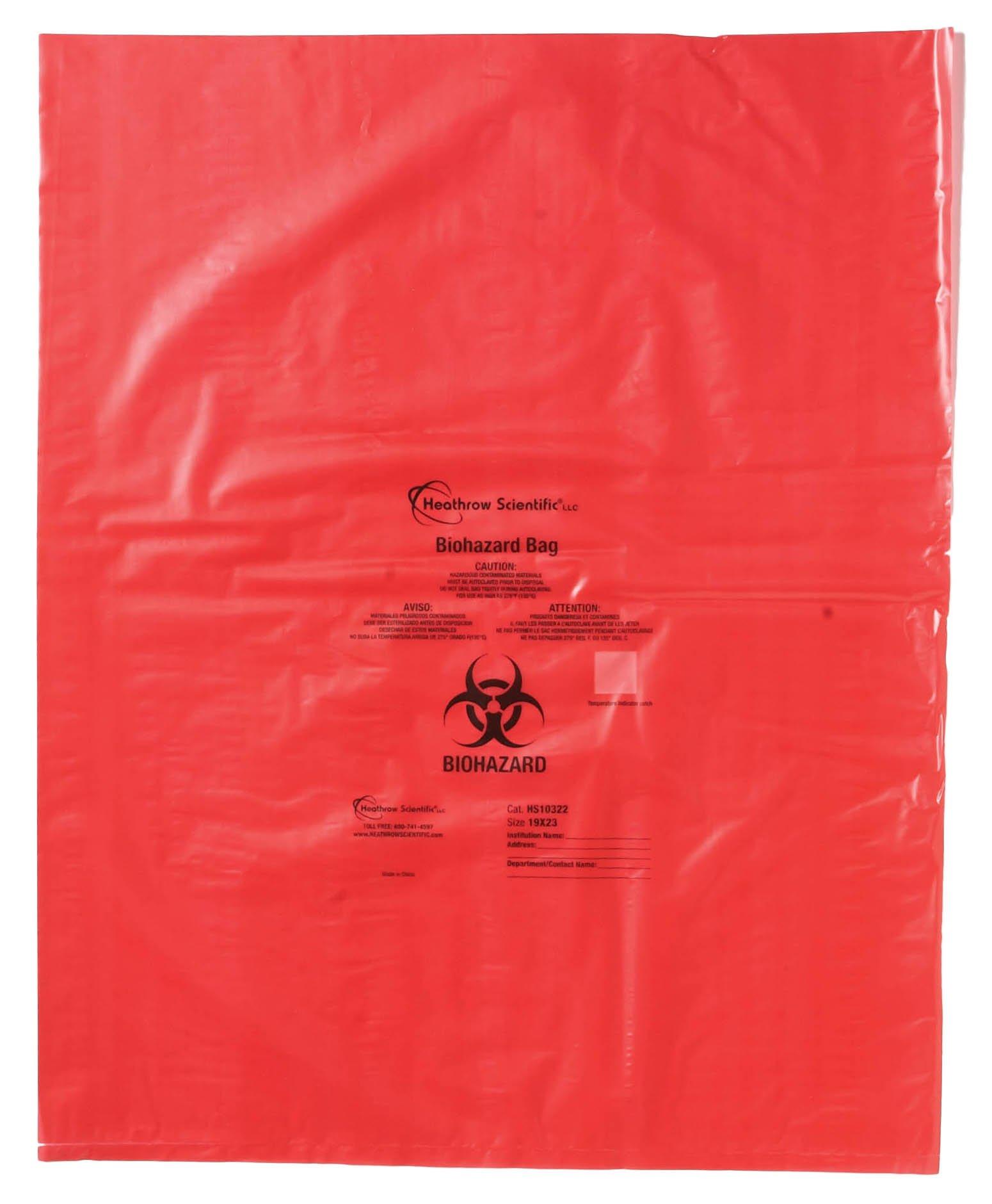 HS Biohazard Bags - 1.57mil Thick x 483mm W x 584mm L (19