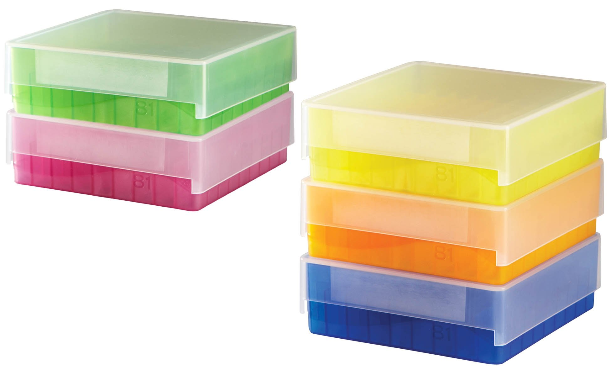 HS 81-Well Microtube Storage Box - Assorted Colors