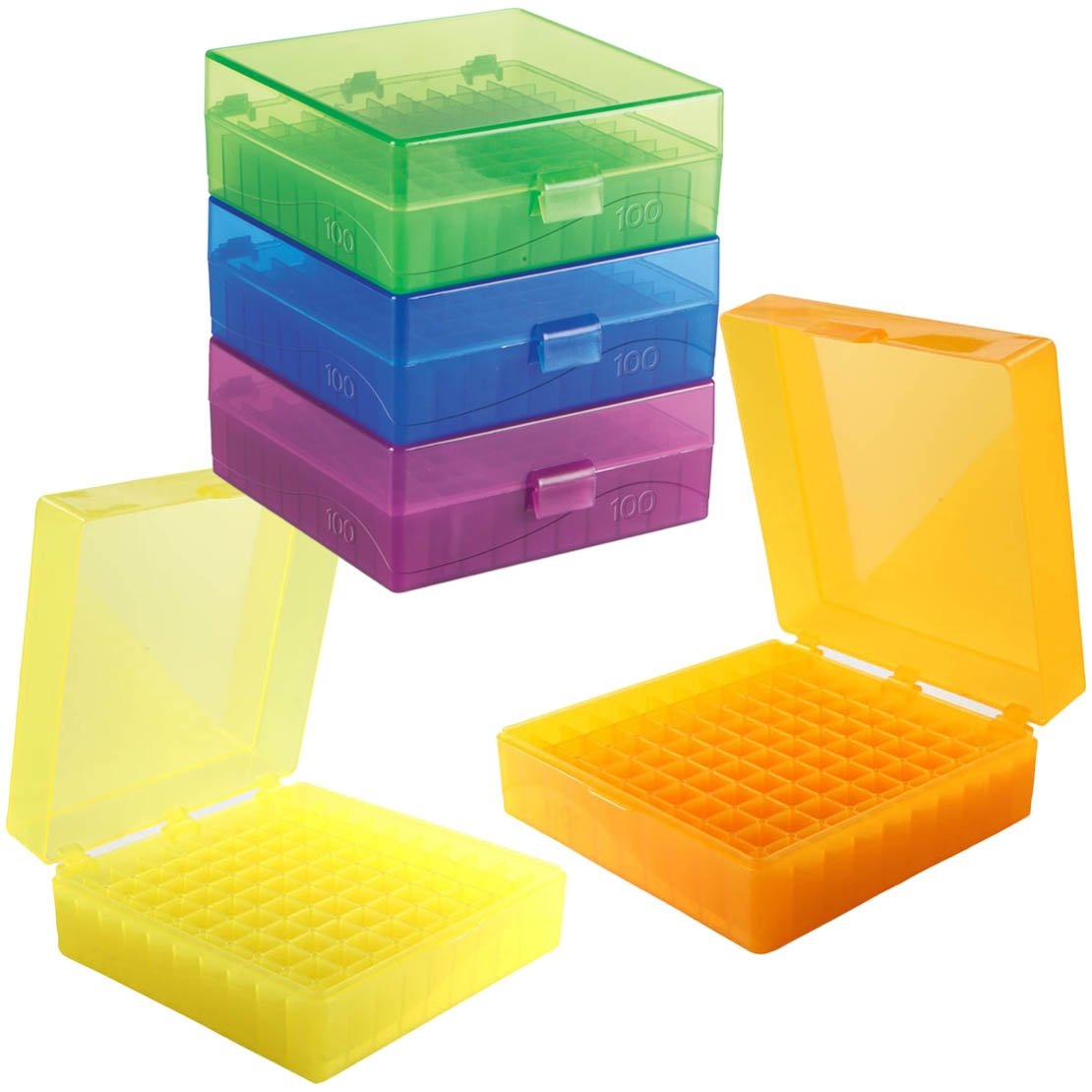 100-Well Hinged Storage Box - Assorted Colors
