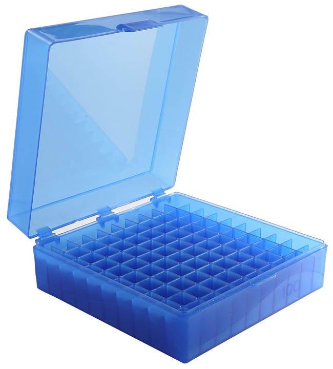 100-Well Hinged Storage Box - Blue