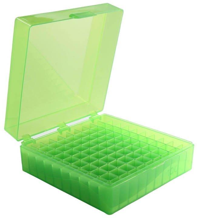 100-Well Hinged Storage Box - Green