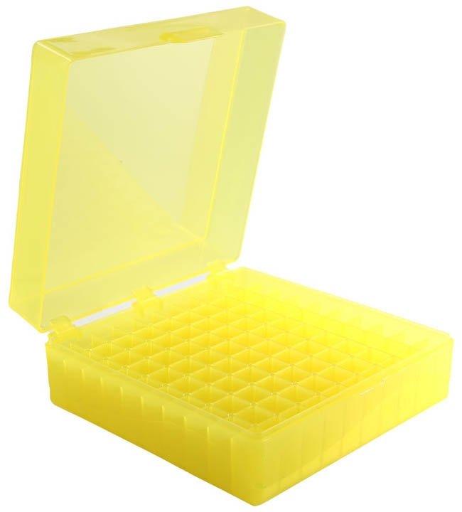 100-Well Hinged Storage Box - Yellow