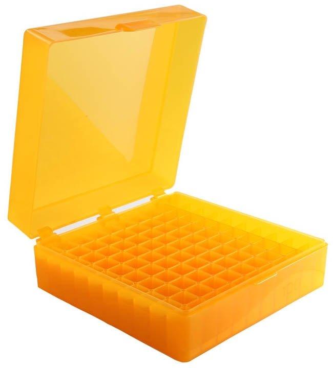 100-Well Hinged Storage Box - Orange
