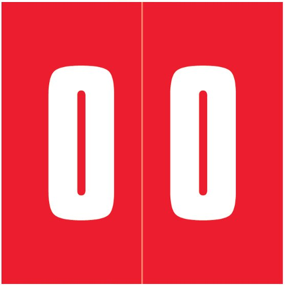 IFC #CL2100 Match System #1 IFNP Series Numeric Roll Labels - Number 0 - Red
