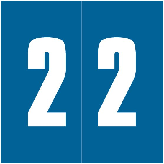 IFC #CL2100 Match System #1 IFNP Series Numeric Roll Labels - Number 2 - Blue