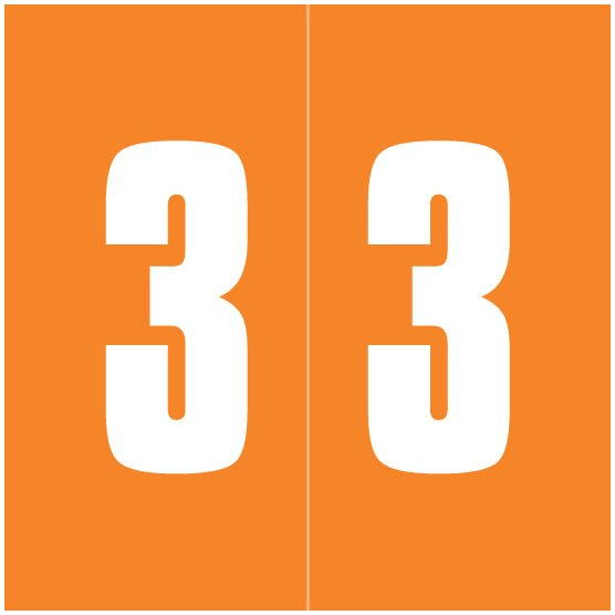 IFC #CL2100 Match System #1 IFNP Series Numeric Roll Labels - Number 3 - Orange