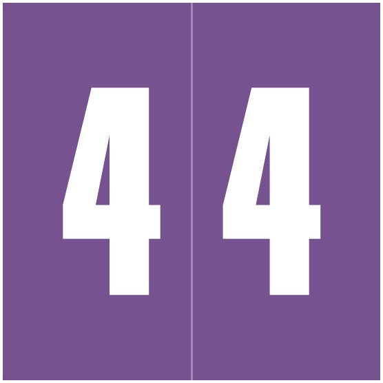 IFC #CL2100 Match System #1 IFNP Series Numeric Roll Labels - Number 4 - Purple