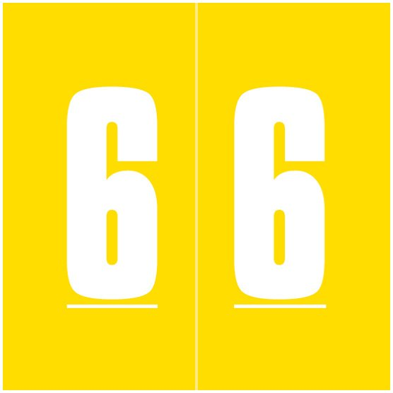 IFC #CL2100 Match System #1 IFNP Series Numeric Roll Labels - Number 6 - Yellow