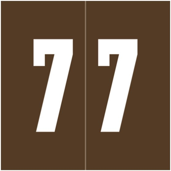 IFC #CL2100 Match System #1 IFNP Series Numeric Roll Labels - Number 7 - Brown
