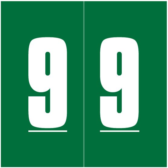 IFC #CL2100 Match System #1 IFNP Series Numeric Roll Labels - Number 9 - Green