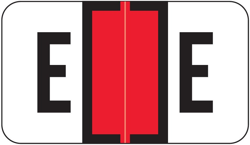 Jeter 0200 Match JAAM Series Alpha Roll Labels - Letter E - Red