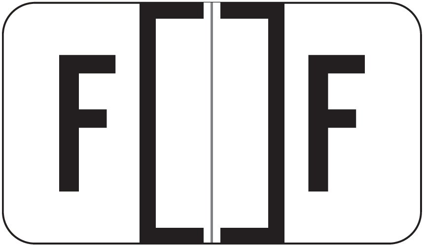 Jeter 0200 Match JAAM Series Alpha Roll Labels - Letter F - White