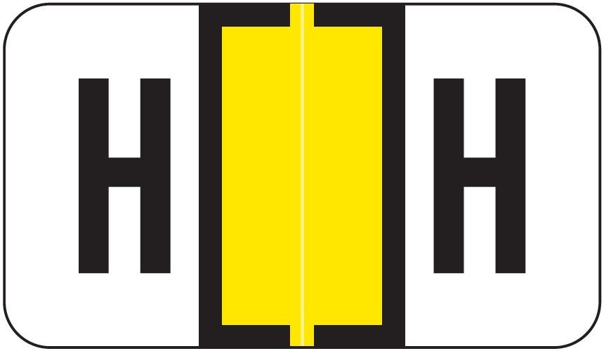 Jeter 0200 Match JAAM Series Alpha Roll Labels - Letter H - Yellow