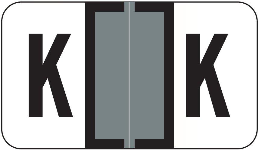 Jeter 0200 Match JAAM Series Alpha Roll Labels - Letter K - Gray