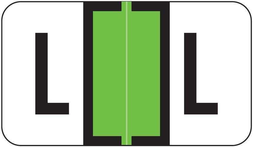 Jeter 0200 Match JAAM Series Alpha Roll Labels - Letter L - Lime