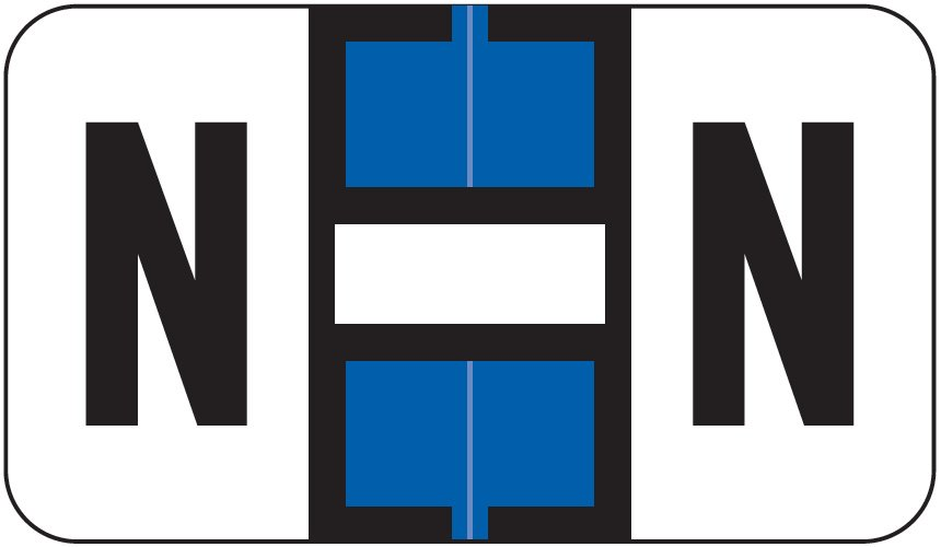 Jeter 0200 Match JAAM Series Alpha Roll Labels - Letter N - Dark Blue and White