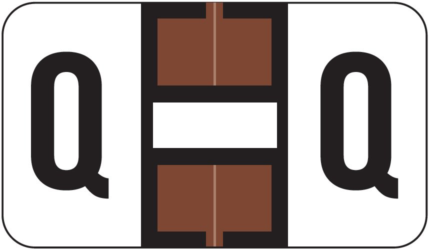Jeter 0200 Match JAAM Series Alpha Roll Labels - Letter Q - Brown and White