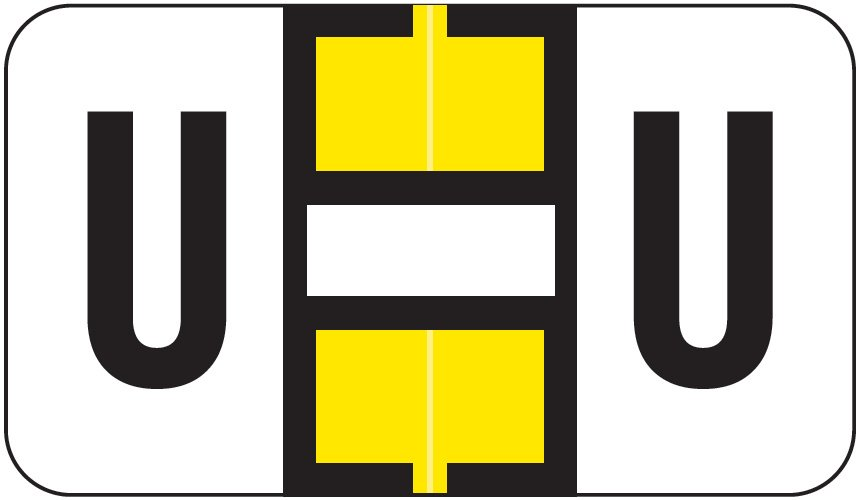 Jeter 0200 Match JAAM Series Alpha Roll Labels - Letter U - Yellow and White