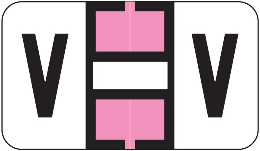 Jeter 0200 Match JAAM Series Alpha Roll Labels - Letter V - Pink and White