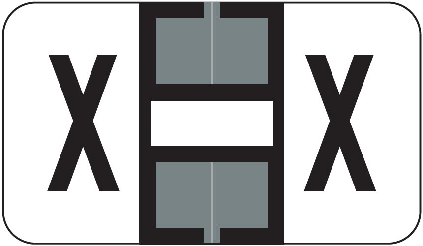 Jeter 0200 Match JAAM Series Alpha Roll Labels - Letter X - Gray and White
