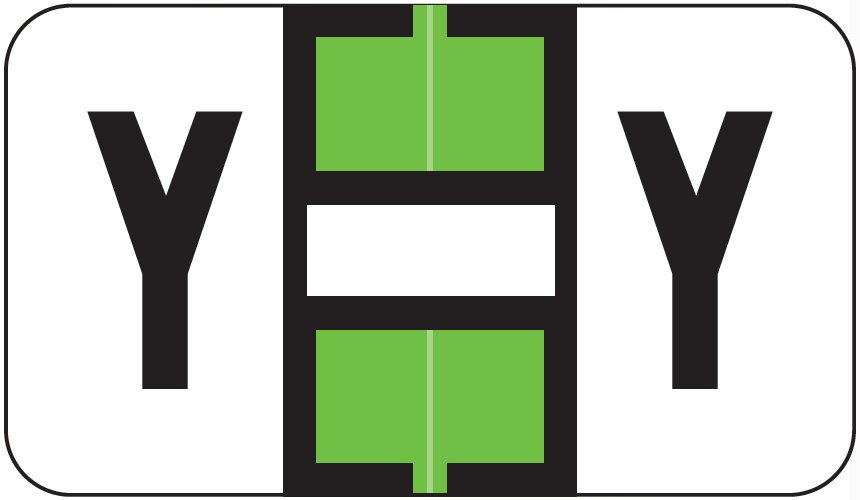 Jeter 0200 Match JAAM Series Alpha Roll Labels - Letter Y - Lime and White
