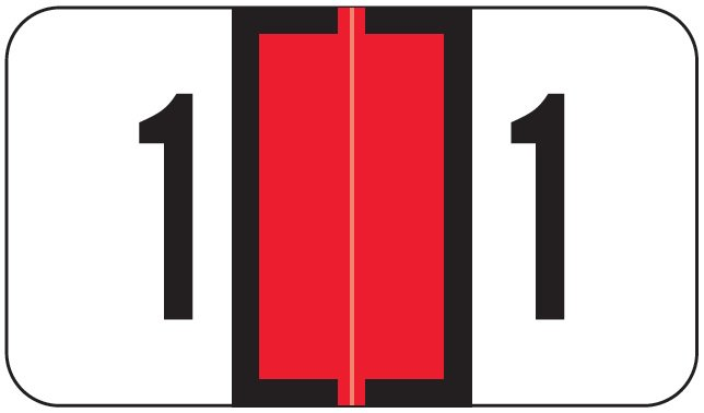 Jeter 0300 Match JANM Series Numeric Roll Labels - Number 1 - Red