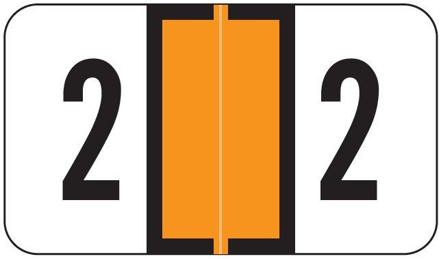 Jeter 0300 Match JANM Series Numeric Roll Labels - Number 2 - Orange