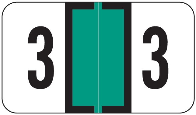 Jeter 0300 Match JANM Series Numeric Roll Labels - Number 3 - Light Green