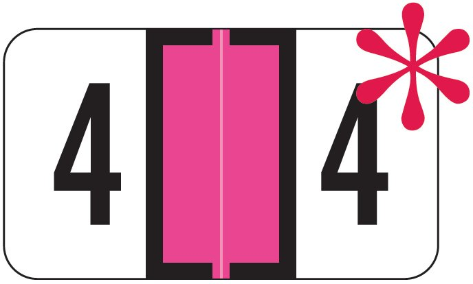 Jeter 0300 Match JANM Series Numeric Roll Labels - Number 4 - Fluorescent Pink