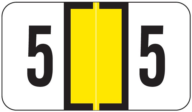 Jeter 0300 Match JANM Series Numeric Roll Labels - Number 5 - Yellow